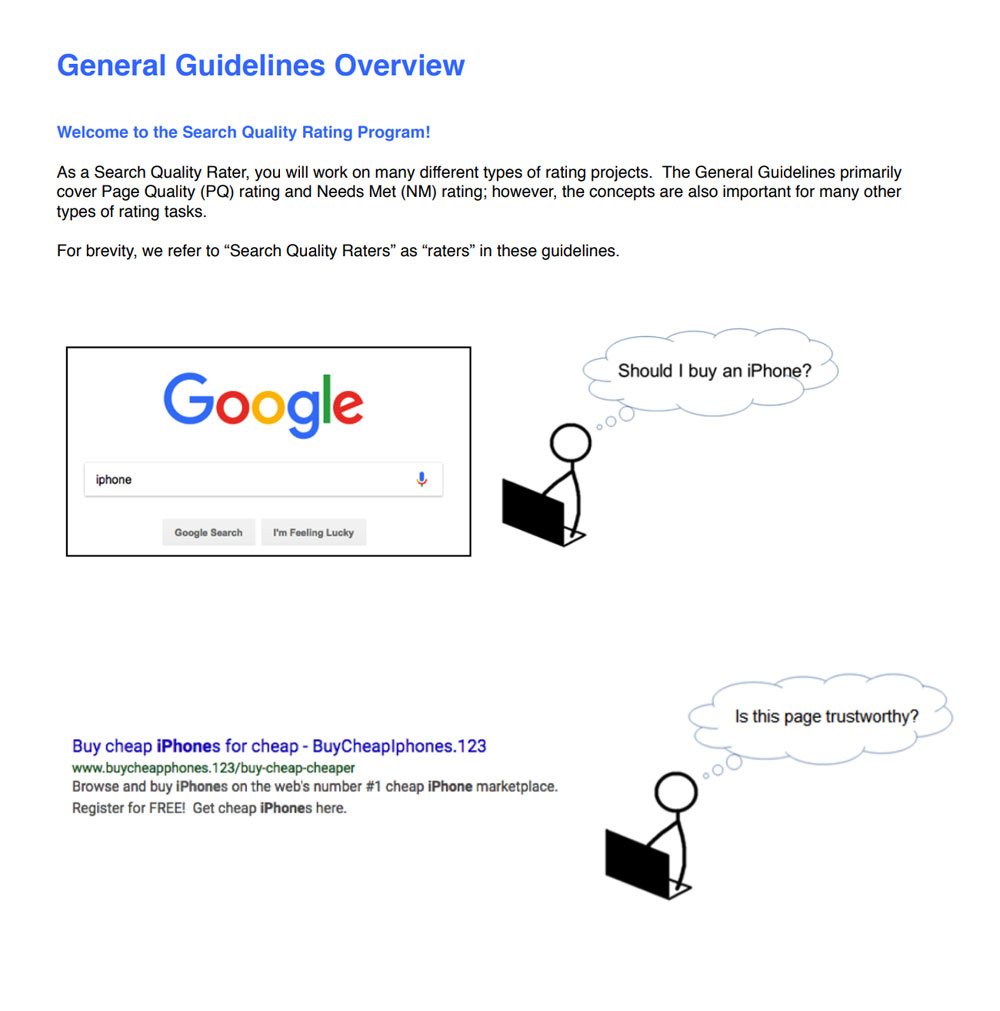 first page of google search quality rater guidelines