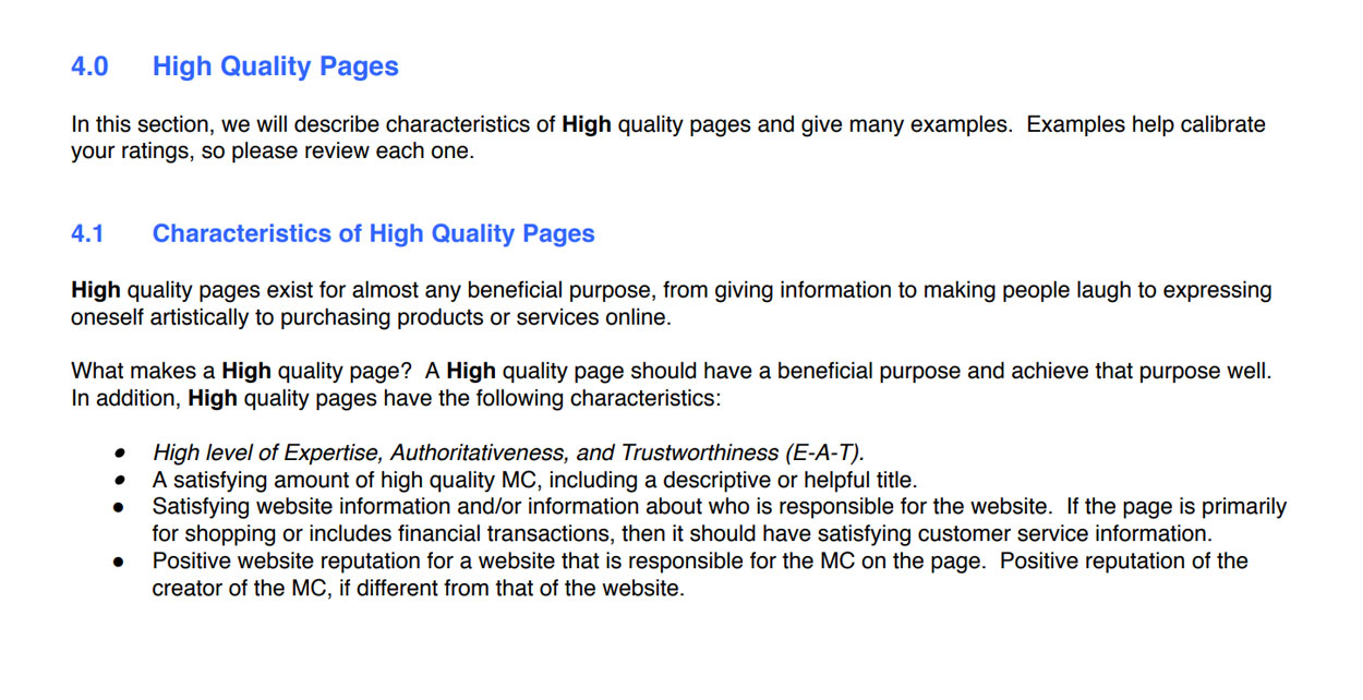 Screenshot- Characteristics of High Quality Pages