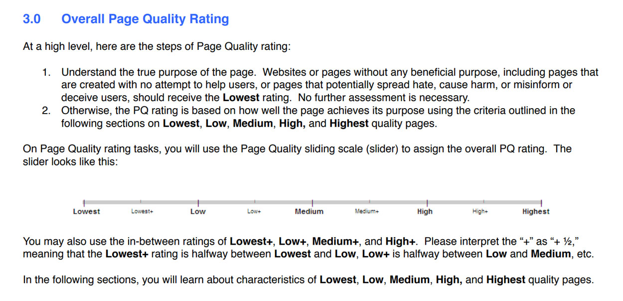 Page Quality Rating Scale