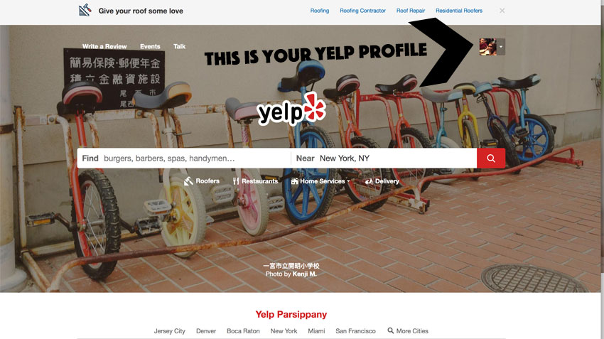 locate Yelp profile
