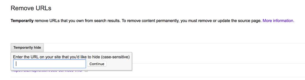 input field to remove URLs