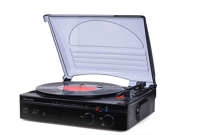 bluetoot record player with speakers