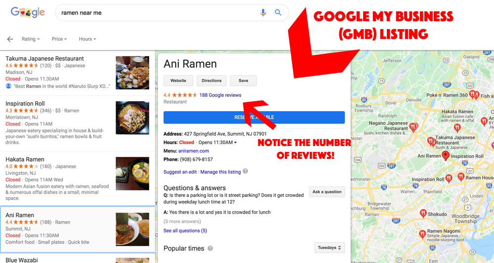google my business listing screenshot