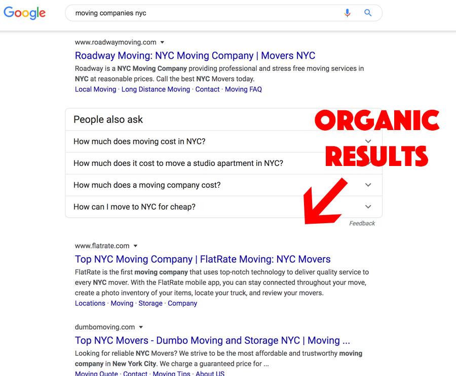 organic results moving companies digital marketing