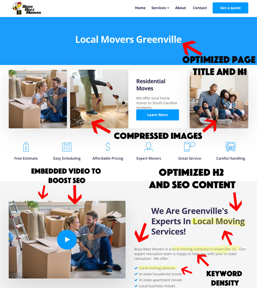 moving company- on page SEO
