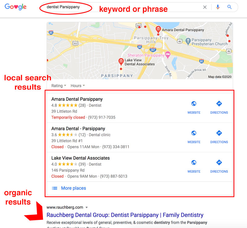 Google search to illustrate online presence and visibilty