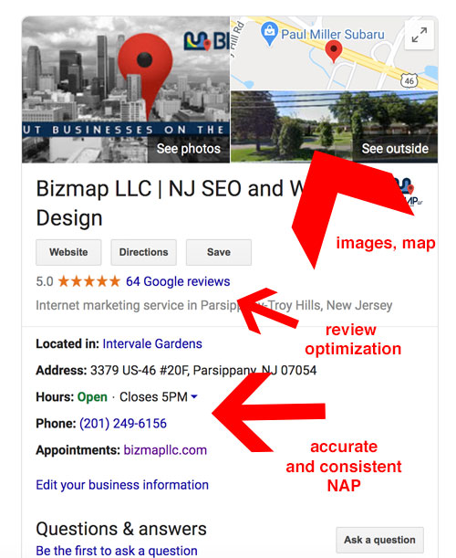 NJ Bizmap LLC GMB listing optimized