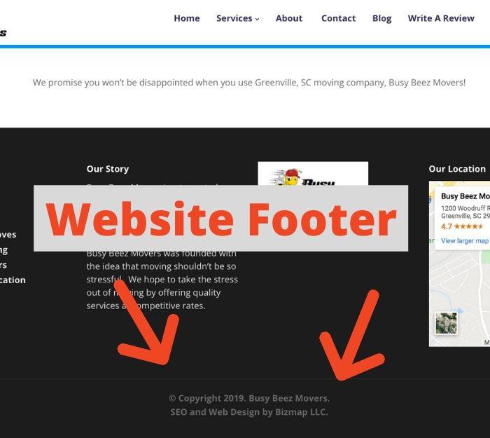 website footer example